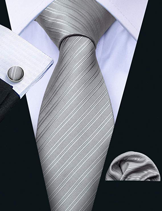 Gray Tone on Tone Striped Wedding Necktie Set LBW288