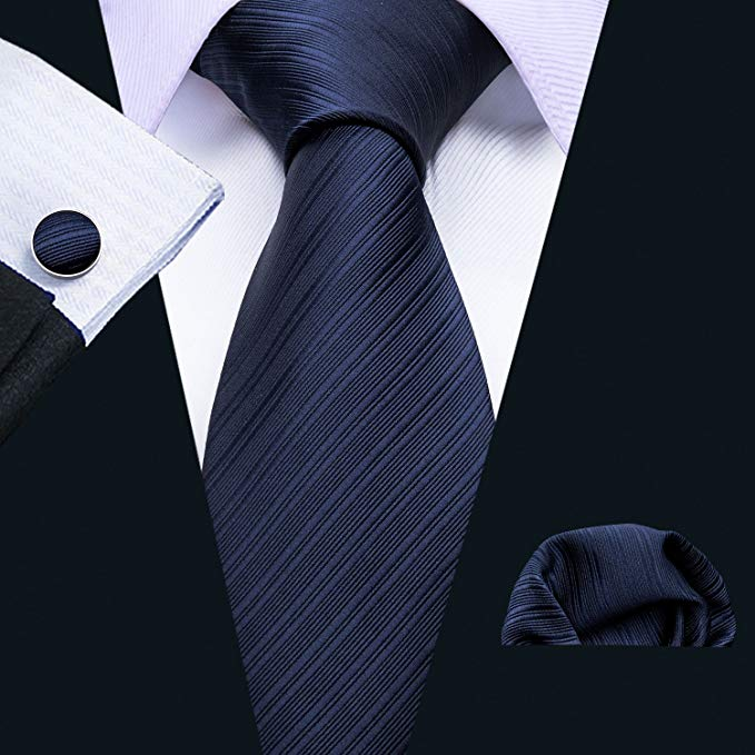Dark Blue Tone on Tone Striped Necktie Set LBW290