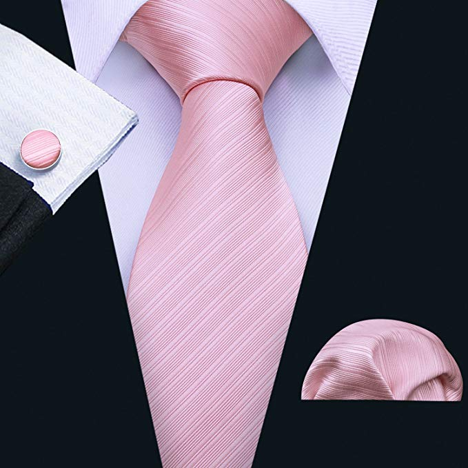 Pink Tone on Tone Striped Wedding Necktie Set LBW291
