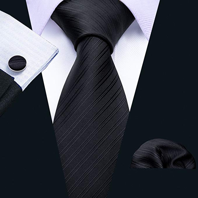Black Tone on Tone Striped Wedding Necktie Set LBW294