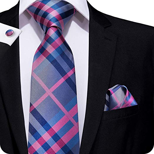 Blue and Pink Plaid Silk Necktie Set LBW295