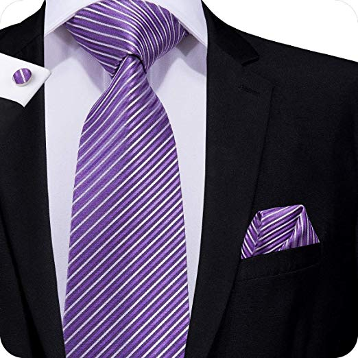 Purple and White Stripe Necktie Set LBW296