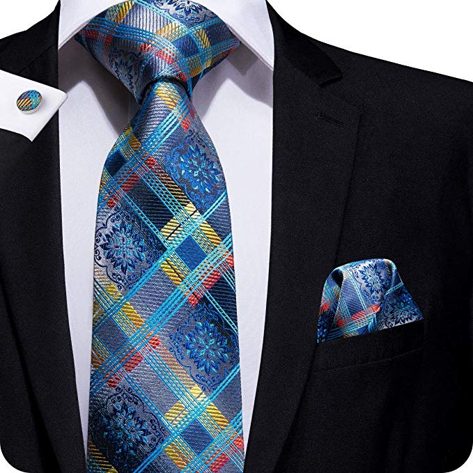 Blue Silk Necktie Set LBW297