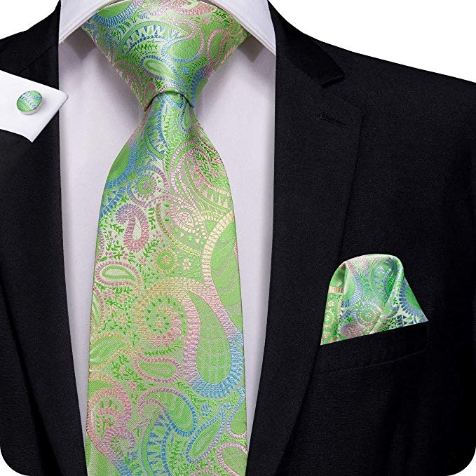 Green Pink Blue Floral Silk Necktie Set LBW299
