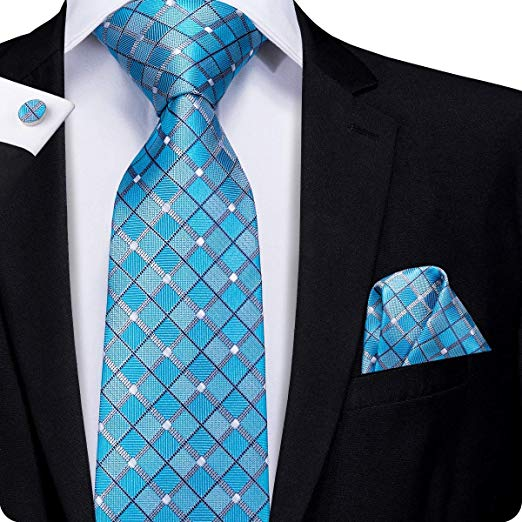 Blue Plaid Silk Necktie Set LBW308