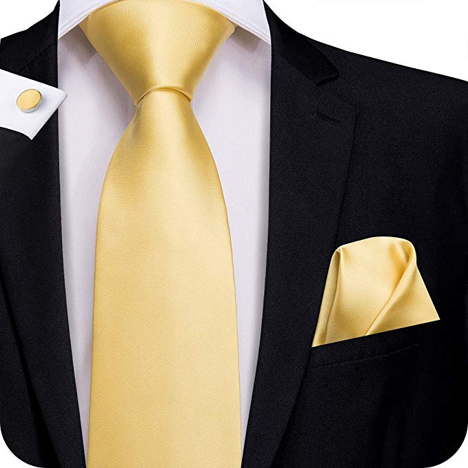 Solid Gold Wedding Silk Necktie Set -LBW315