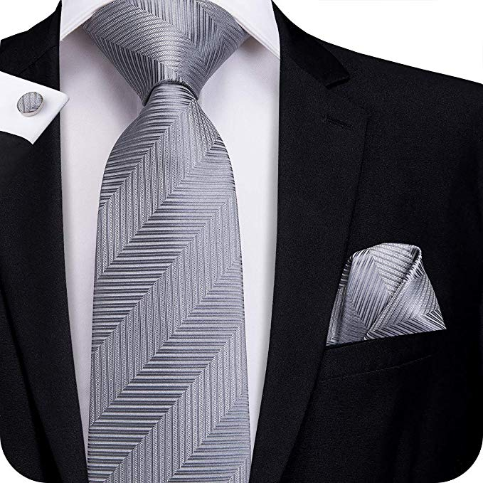 Silver Striped Silk Necktie Set-LBW317