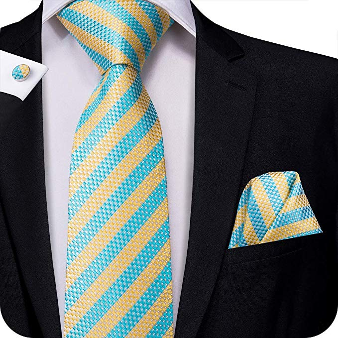 Gold and Blue Striped Silk Necktie Set-LBW318