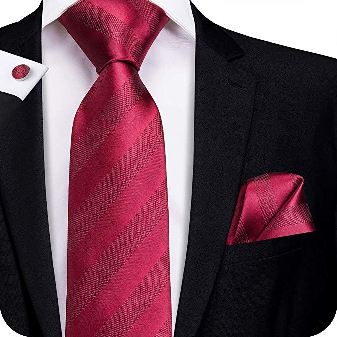 Burgundy Striped Silk Necktie Set-LBW319