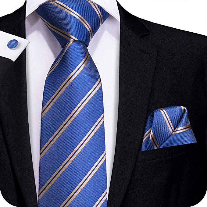 Blue and Gold Silk Necktie Set-LBW320