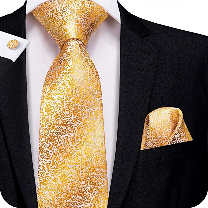 Gold Silk Necktie Set-LBW329