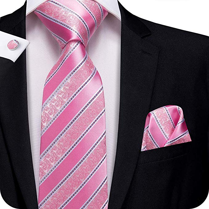 Pink  and White Stripe Paisley Necktie Set-LBW335