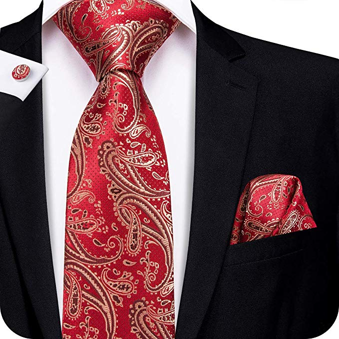 Red and Tan Silk Necktie Set-LBW336