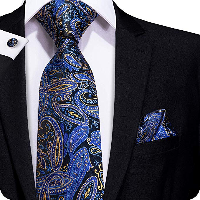 Blue and Gold Paisley Silk Necktie Set-LBW339
