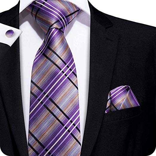 Purple Plaid Sillk Necktie- LBW340