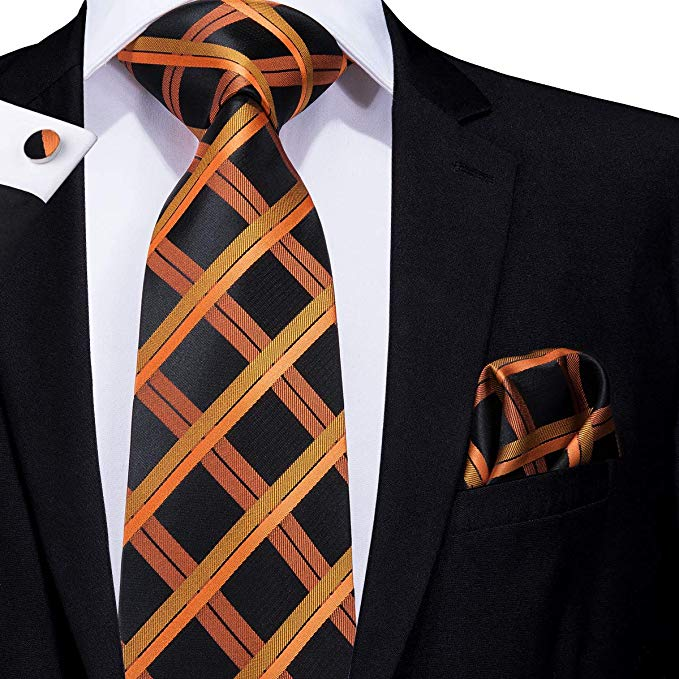 Black and Orange Plaid Tie Set LBW344