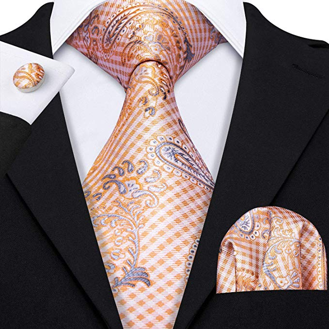 Orange and Gray Silk Necktie Set-LBW346