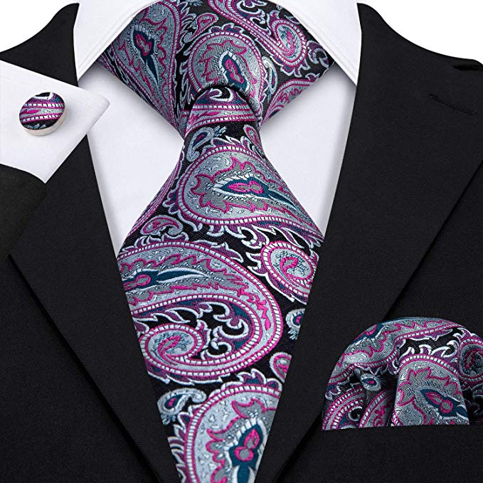 Black Pink Gray Silk Necktie Set-LBW347