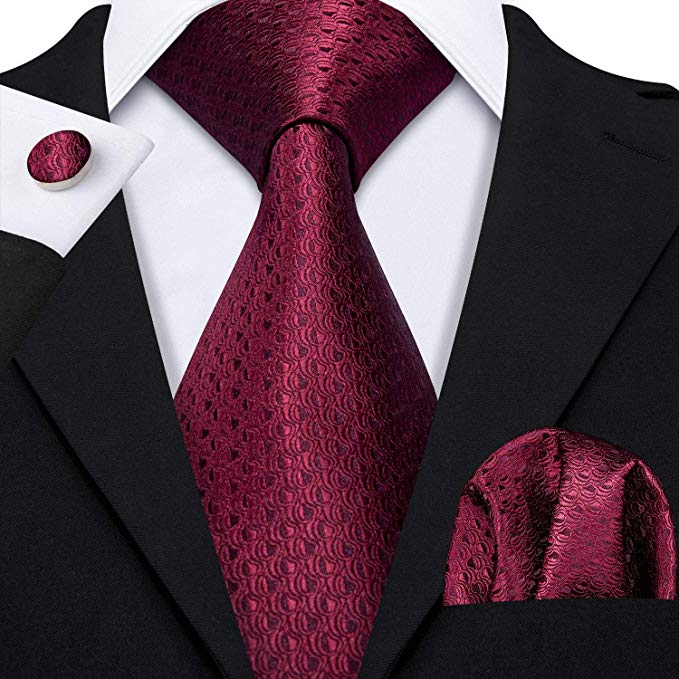 Burgundy Silk Necktie Set-LBW348