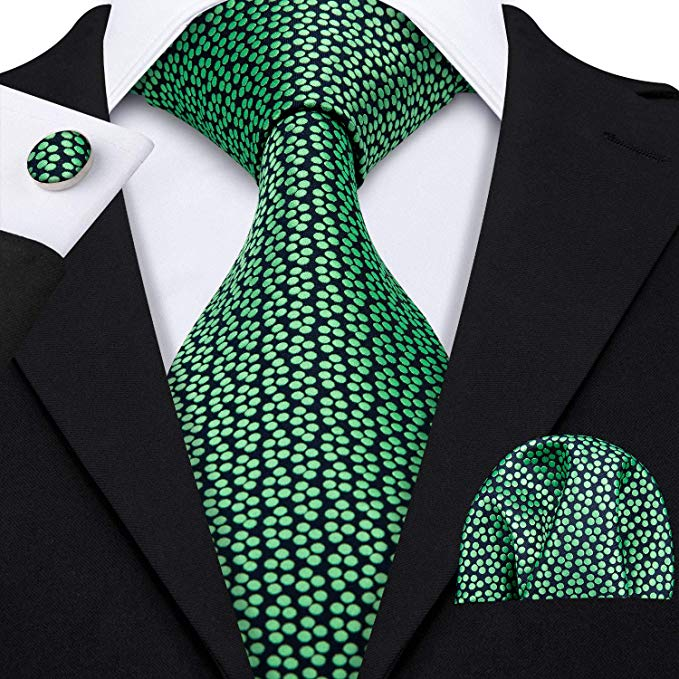 Blue and Mint Green Silk Necktie Set-LBW352