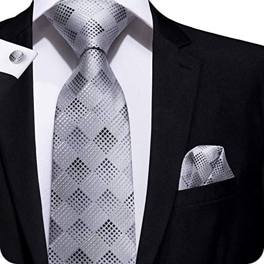 Silver,Dark Gray and Black Necktie Set LBW355