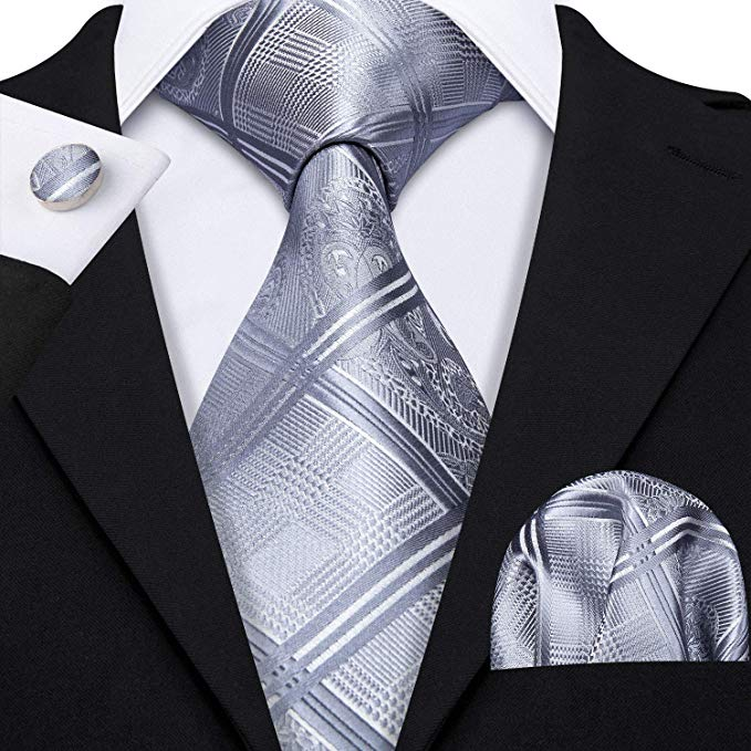 Grey Silk Necktie Set LBW-360