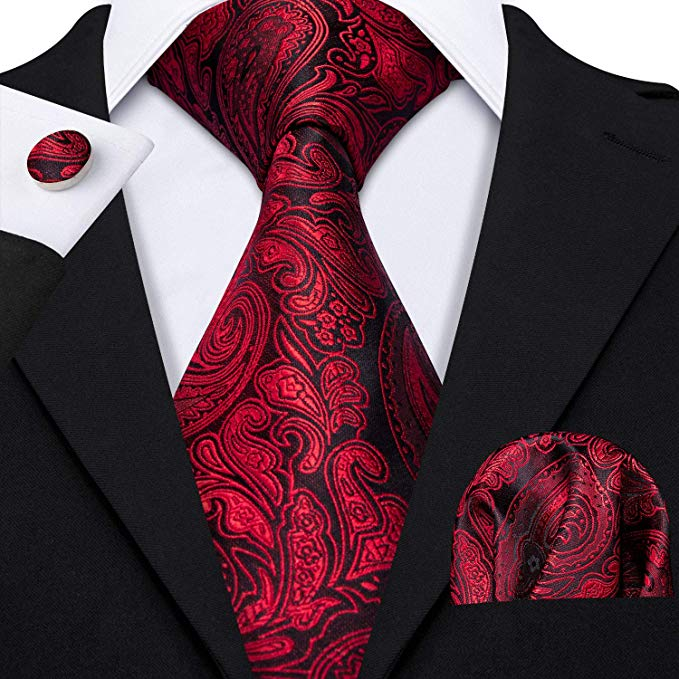 Black and Red Silk Paisley Necktie Set-LBW361