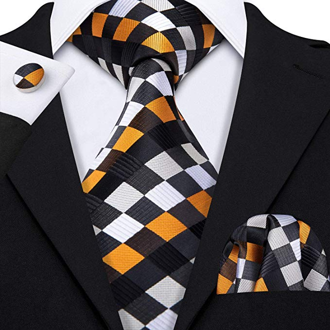 Black,Silver,Brown and Dark Orange Plaid Necktie Set LBW361