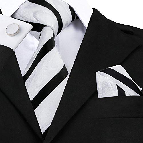 Black and White Striped Silk Necktie Set-LBW367