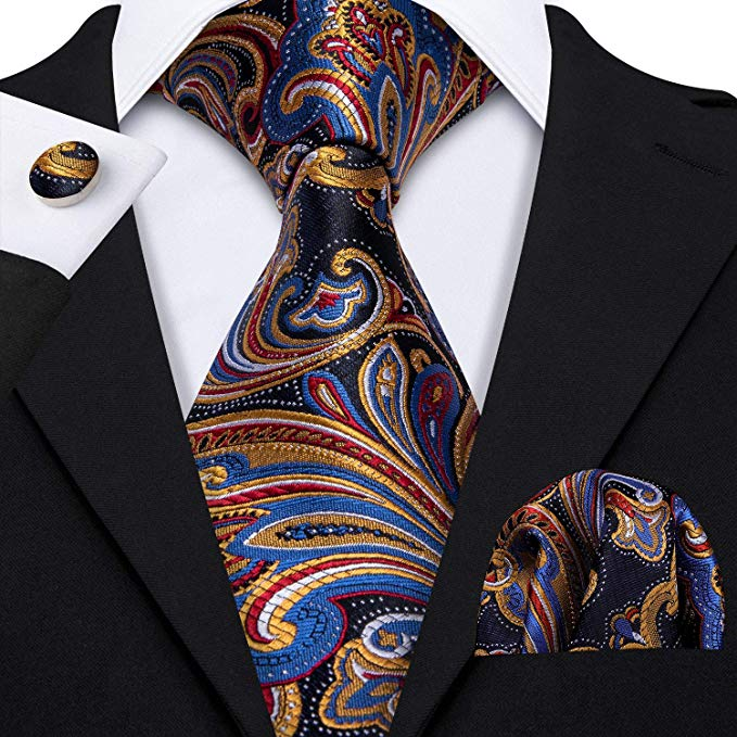 Muliti Color Silk Paisley Necktie Set-LBW372