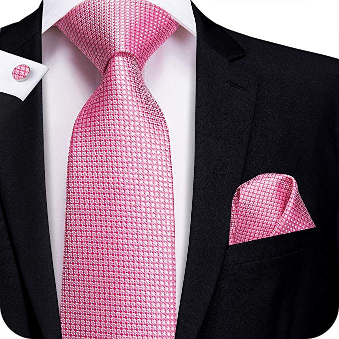 Pink Check Silk Necktie Set-LBW374