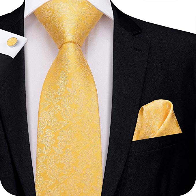 Yellow Gold Paisley Necktie Set-LBW375