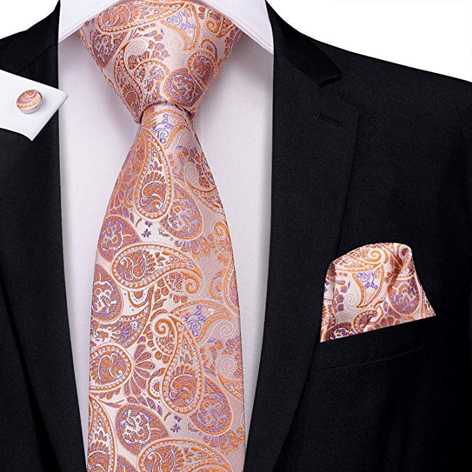 Orange and Purple Silk Paisley Necktie Set LBW-376