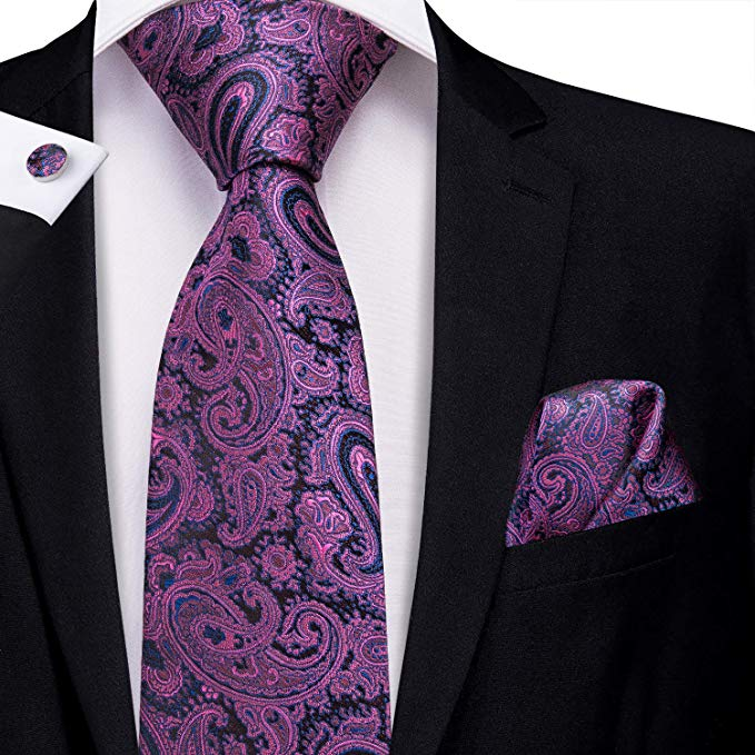 Purple and Black Silk Necktie Set-LBW377