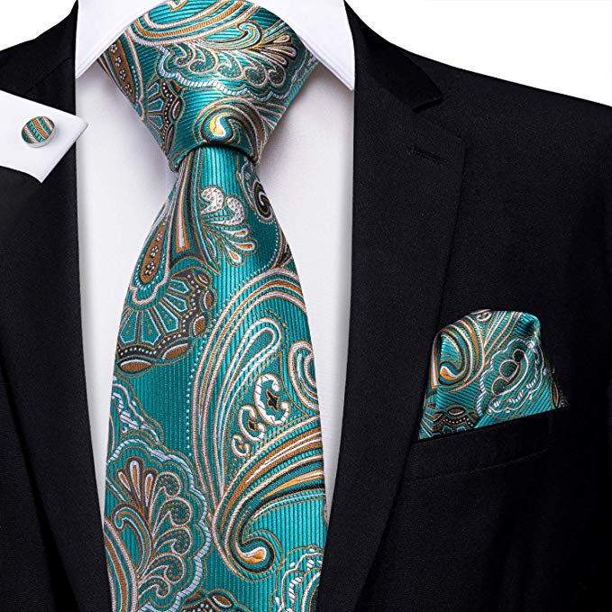 Teal and Gold Paisley Necktie Set- LBW378