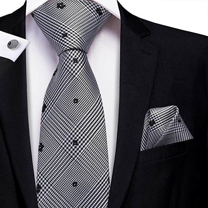 Black and Gray Silk Necktie Set-LBW386
