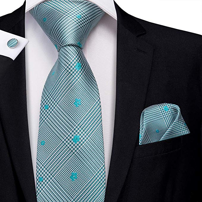 Teal Blue Silk Necktie Set LBW-388
