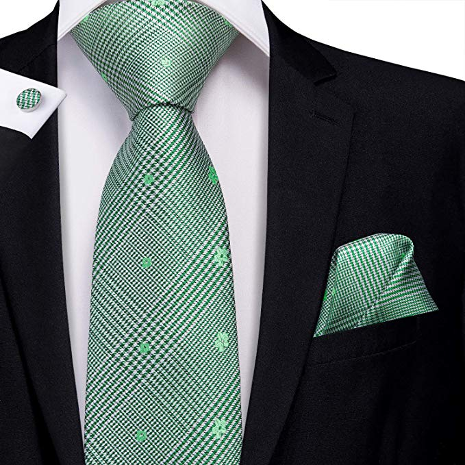 Green Silk Plaid Necktie Set-LBW389