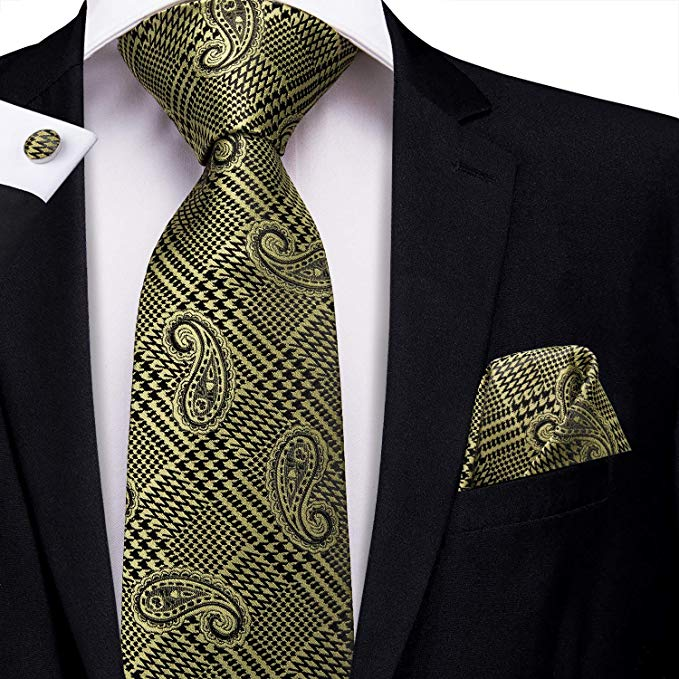 Gold and Black Silk Necktie Set-LBW390