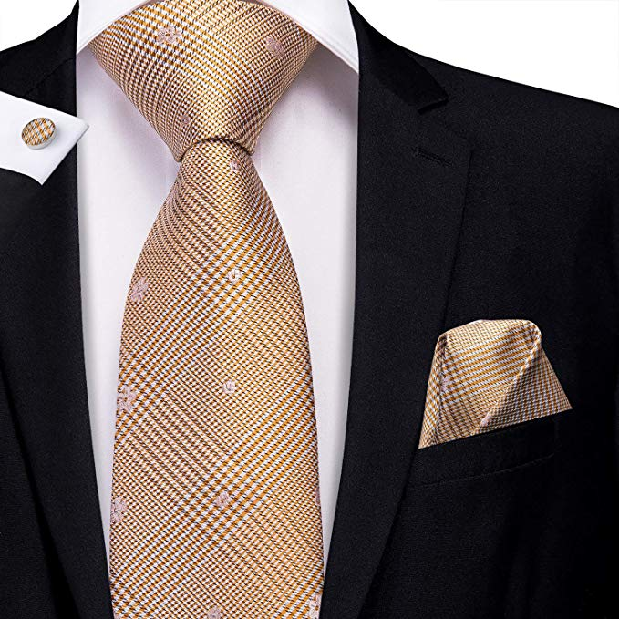 Orange Silk  Necktie Set-LBW391