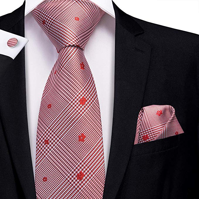 Red and White Silk Necktie Set-LBW392