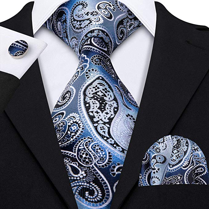Blue and Black Paisley Necktie Set-LBW398