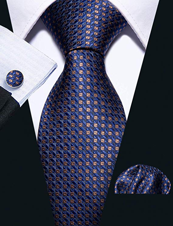 Blue and Brown Silk Necktie Set-LBW399