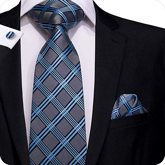 Blue and Dark Gray Tie Set  LBW400