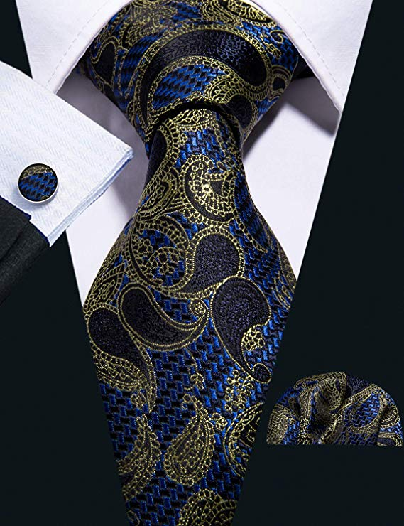 Blue Black Gold Paisley Necktie Set-LBW404