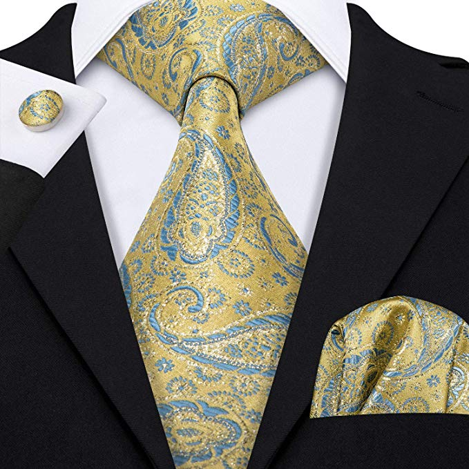 Lemon Yellow and Lt. Blue Necktie Set-LBW405