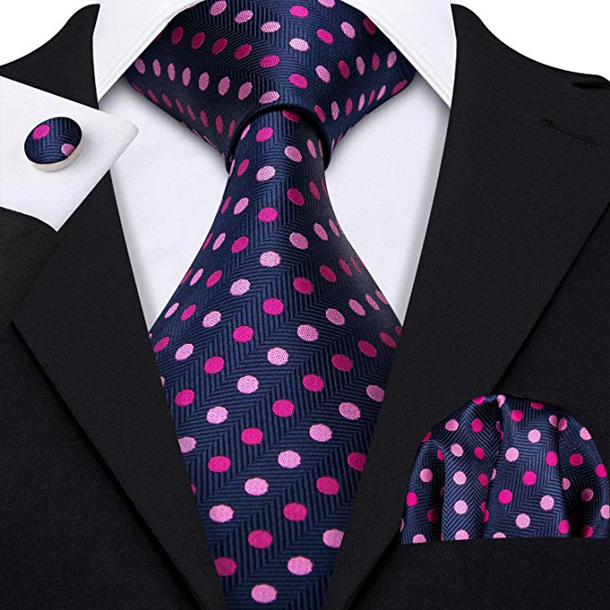 Blue and Pink Polka Dot Necktie Set-LBW406 Free Shipping