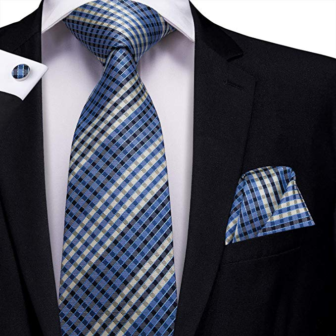 Blue and Black  Check Necktie Set- LBW413