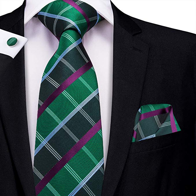 Green  and Purple Silk Check Necktie Set-LBW415