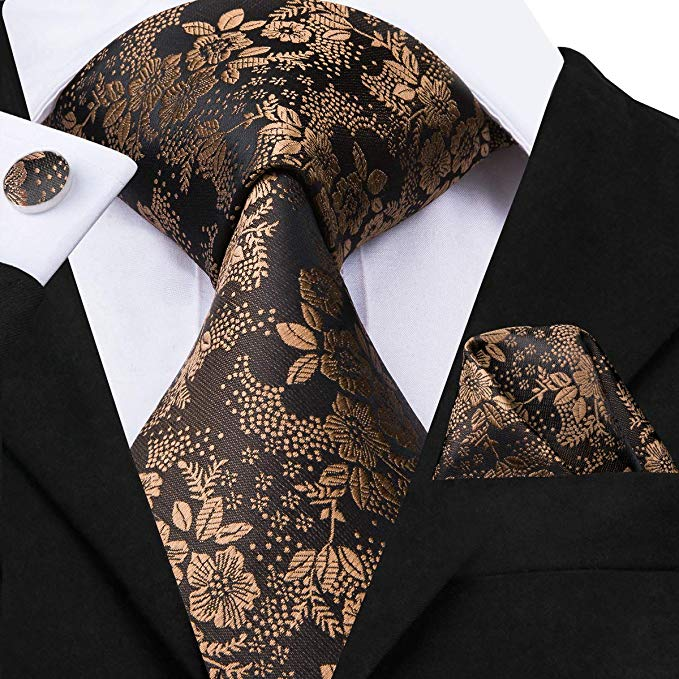 Brown Floral Silk Necktie Set- LBW422